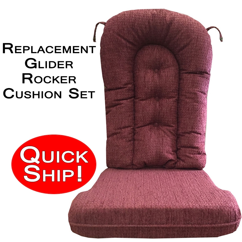 quick ship glider rocker cushion set burgundy chenille fabric. Black Bedroom Furniture Sets. Home Design Ideas