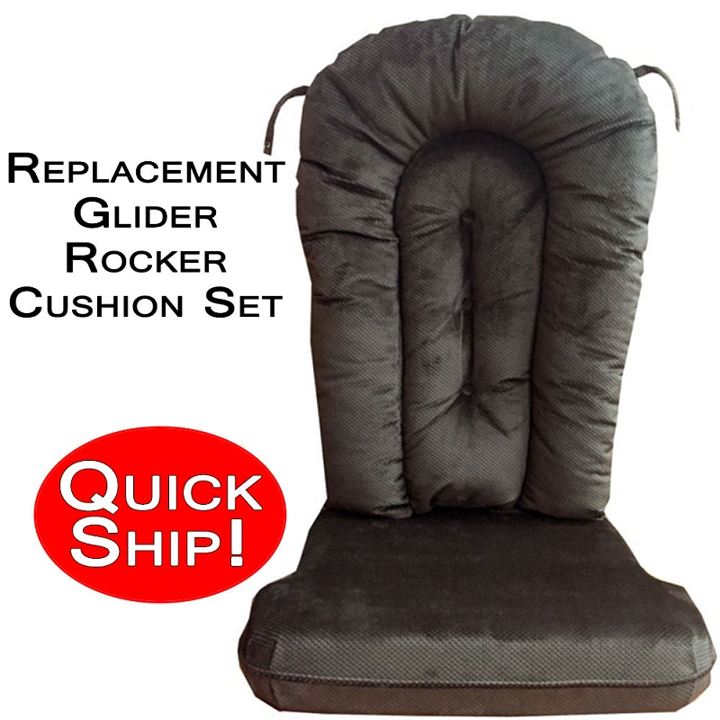 Glider Rocker Cushion Set - Beluga Micro Denier - Quick Ship! Glider Rocker Cushion Set - Beluga Micro Denier