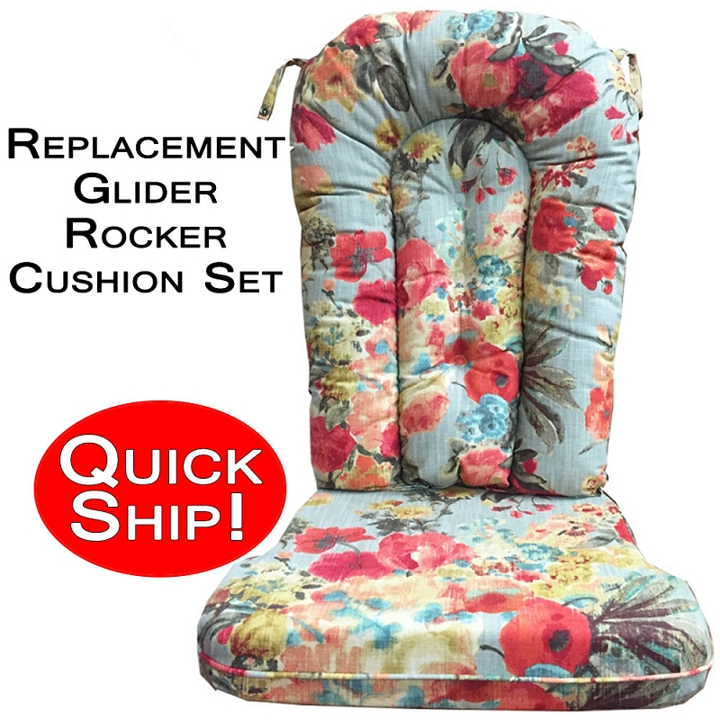 Quick Ship Glider Rocker Cushion Set Mood Lifter Floral