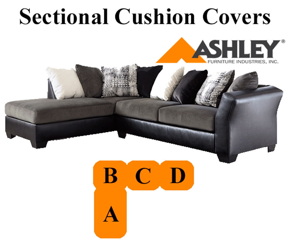 Ashley armant sectional ebony grey left chaise for Chaise cushion covers