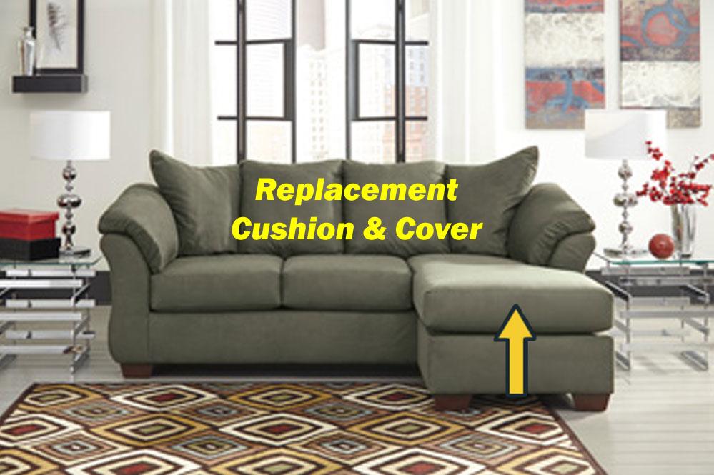 Ashley darcy replacement chaise cushion and cover for Chaise cushion covers