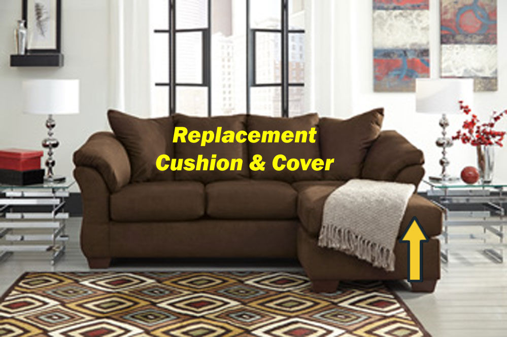 Ashley darcy replacement chaise cushion and cover for Chaise cushion cover