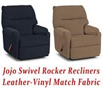Jojo Swivel Rocker Recliner in Leather-Vinyl Match