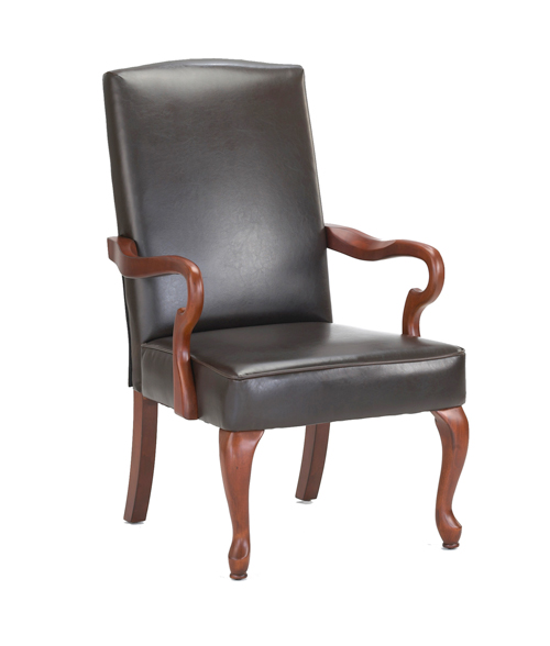 Derby Goose Neck Arm Accent Chair In Brown Color