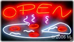 OPEN (Pizza Logo) Neon Sign