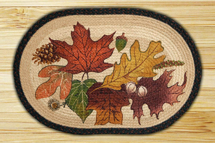 Oval Art Patch Autumn Leaves Braided Earth Rug 174