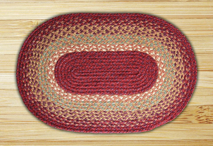 Oval Burgundy Maroon And Sunflower Jute Braided Earth Rug 174