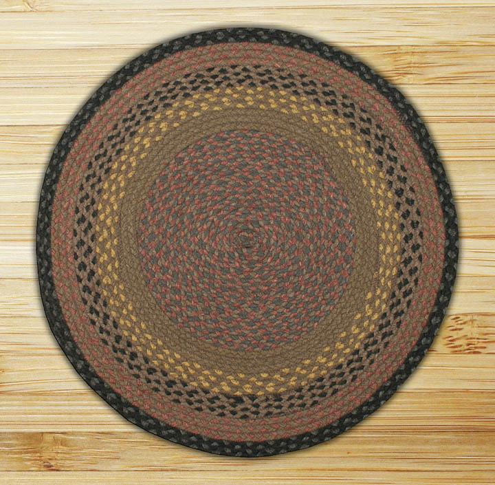 Round Circle Brown Black And Charcoal Jute Braided Earth Rug 174