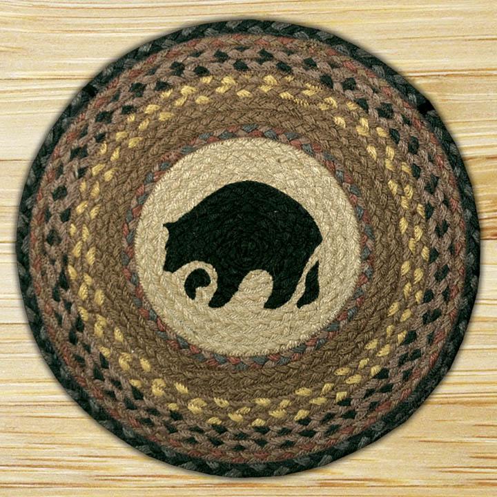 Braided Rug Pad: Hand Printed Chair Pad Black Bear Jute Braided Earth Rug®