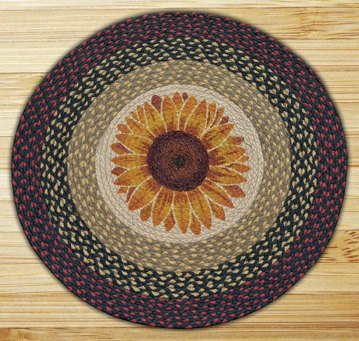 Round 27 Inch Print Patch Sunflower Braided Earth Rug 174