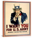 WWII US Army I Want You Recruiting Vintage Printed On Canvas