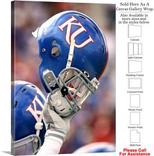 University of Kansas Football Helmet Raised Sport Canvas Wrap 23