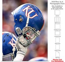 University of Kansas Football Helmet Raised Sport Photo Print 18