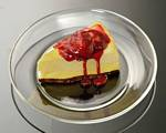 Fake Food Slice Strawberry Cheesecake on Plate