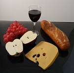 Fake Food Wine, Cheese & Fruit Assortment