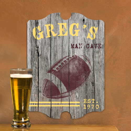 Football Man Cave Gifts : Personalized football man cave vintage pub sign