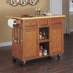 Medium Oak 3-Drawer Kitchen Butler