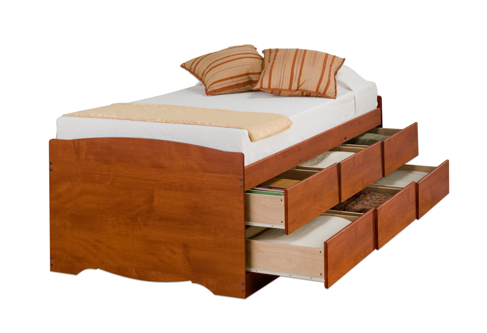 Tall Cherry Twin 6 Drawer Platform Storage Bed By Prepac