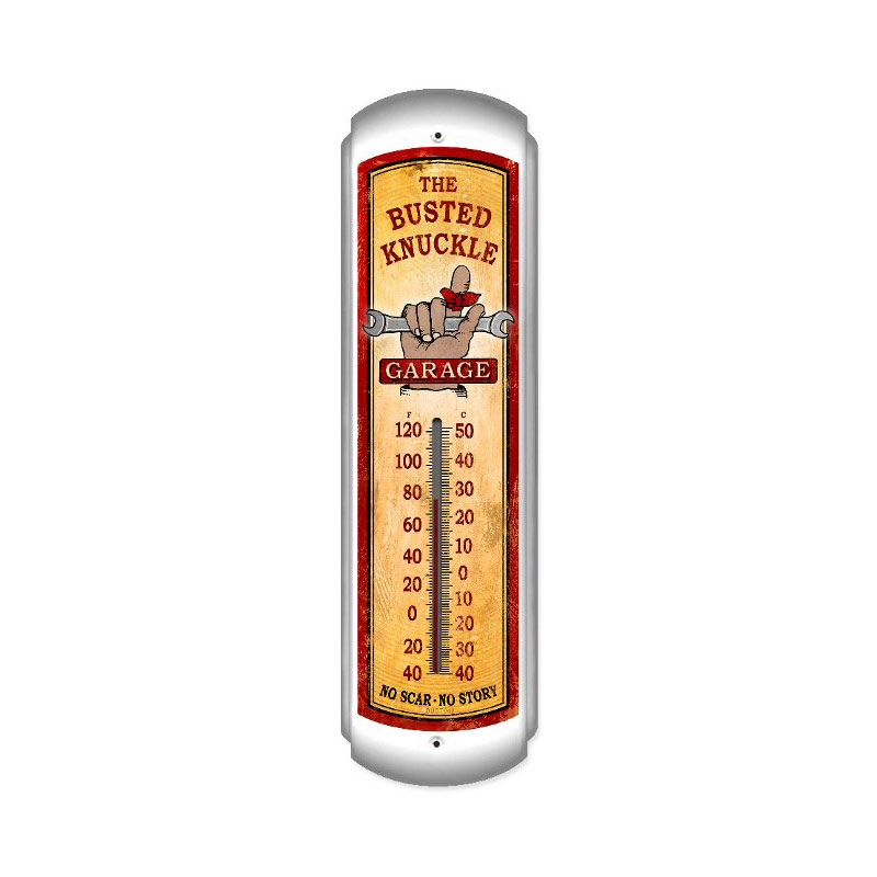 Busted Knuckle Garage Vintage Metal Sign Vertical Thermometer