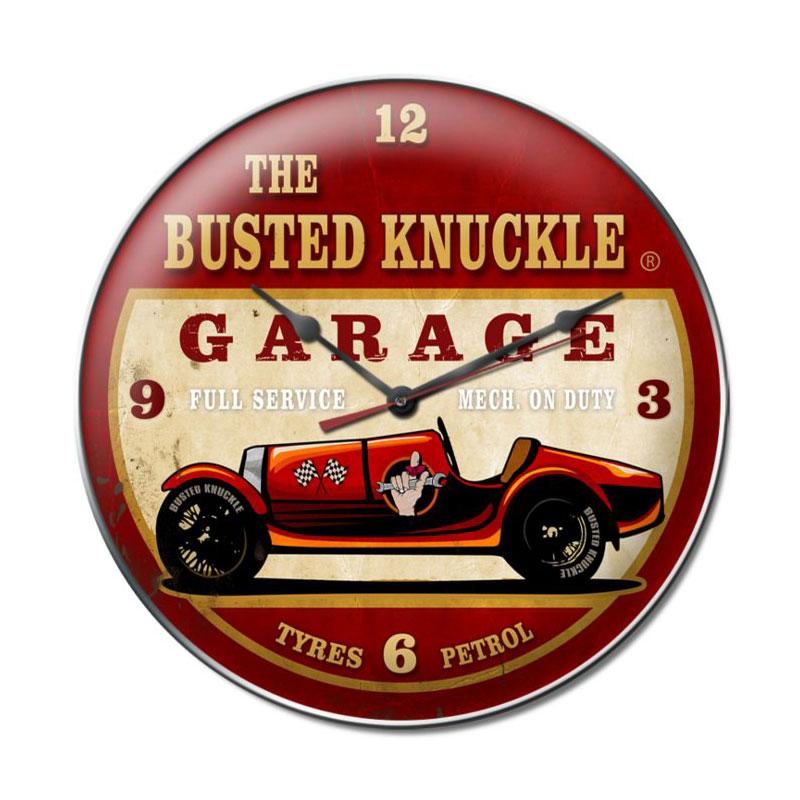 Old Race Car Vintage Metal Sign Clock