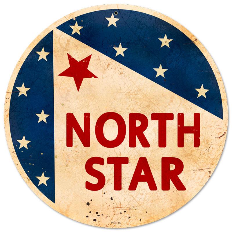 north star gasoline vintage metal sign. Black Bedroom Furniture Sets. Home Design Ideas