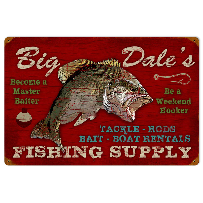 Fishing supply vintage metal sign for Vintage fishing signs