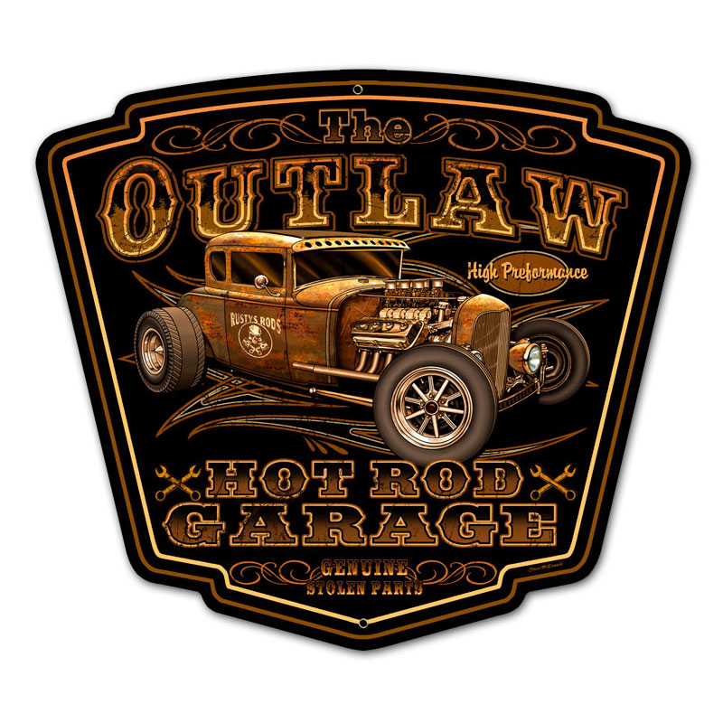 Outlaw garage vintage metal sign for Vintage garage signs uk