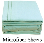 Light Blue Microfiber Sheets, Twin Size,  Deep Pocket