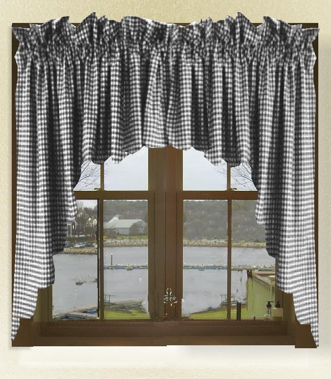 Black Gingham Check Scalloped Window Swag Valance Set