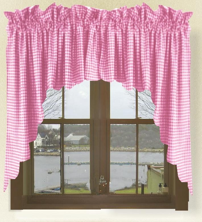 Fuchsia Hot Pink Gingham Check Scalloped Window Swag