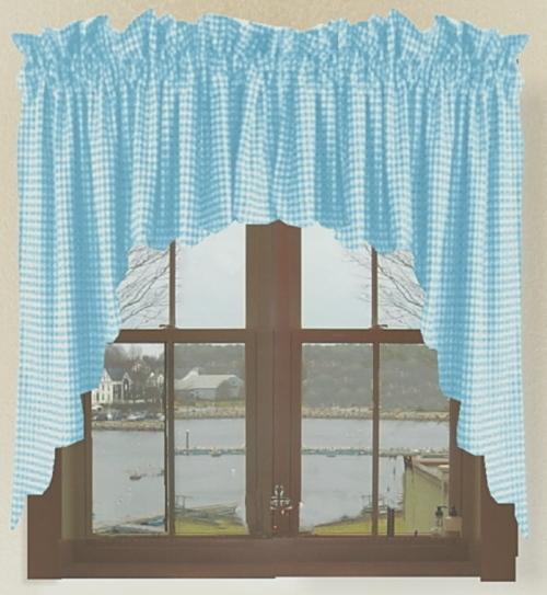 Turquoise Gingham Check Scalloped Window Swag Valance Set