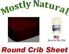 Round Crib Sheet Fitted Burgundy Jersey Knit