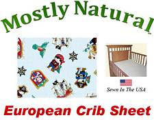 European Crib Sheet Fitted Pirates Cotton Percale