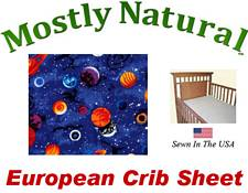 European Crib Sheet Fitted Planets Cotton Percale