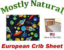 European Crib Sheet Fitted Space Cotton Percale