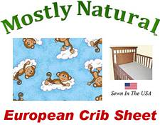 European Crib Sheet Fitted Monkeys Blue Cotton Percale