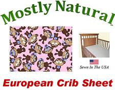 European Crib Sheet Fitted Monkeys Pink Cotton Percale