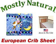 European Crib Sheet Fitted Hey Diddle Patch Cotton Percale