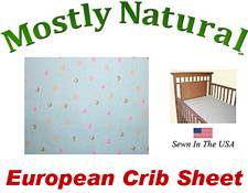European Crib Sheet Fitted Colorful Dots On Mint Cotton Percale