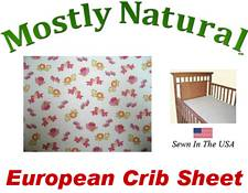 European Crib Sheet Fitted Baby Noahs Ark Pink Cotton Percale
