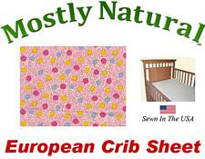 European Crib Sheet Fitted Pink Vine Dots Cotton Percale
