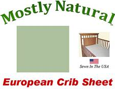 European Crib Sheet Fitted Sage Woven Cotton Percale