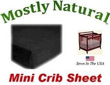 Mini Crib Sheet Fitted Solid Black Jersey Knit