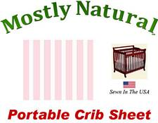 Portable Crib Sheet Fitted Pastel Pink Stripe Cotton Woven