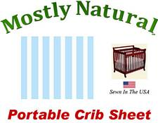 Portable Crib Sheet Fitted Pastel Blue Stripe Cotton Woven