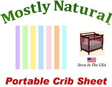 Portable Crib Sheet Fitted Pastel Colorful Stripe Cotton Woven