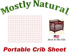 Portable Crib Sheet Fitted Pastel Pink Gingham Cotton Woven