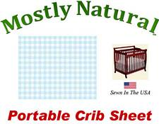 Portable Crib Sheet Fitted Pastel Blue Gingham Cotton Woven