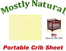 Portable Crib Sheet Fitted Pastel Yellow Gingham Cotton Woven
