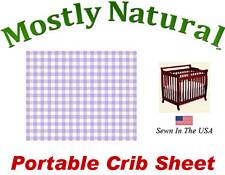 Portable Crib Sheet Fitted Pastel Lavender Gingham Cotton Woven